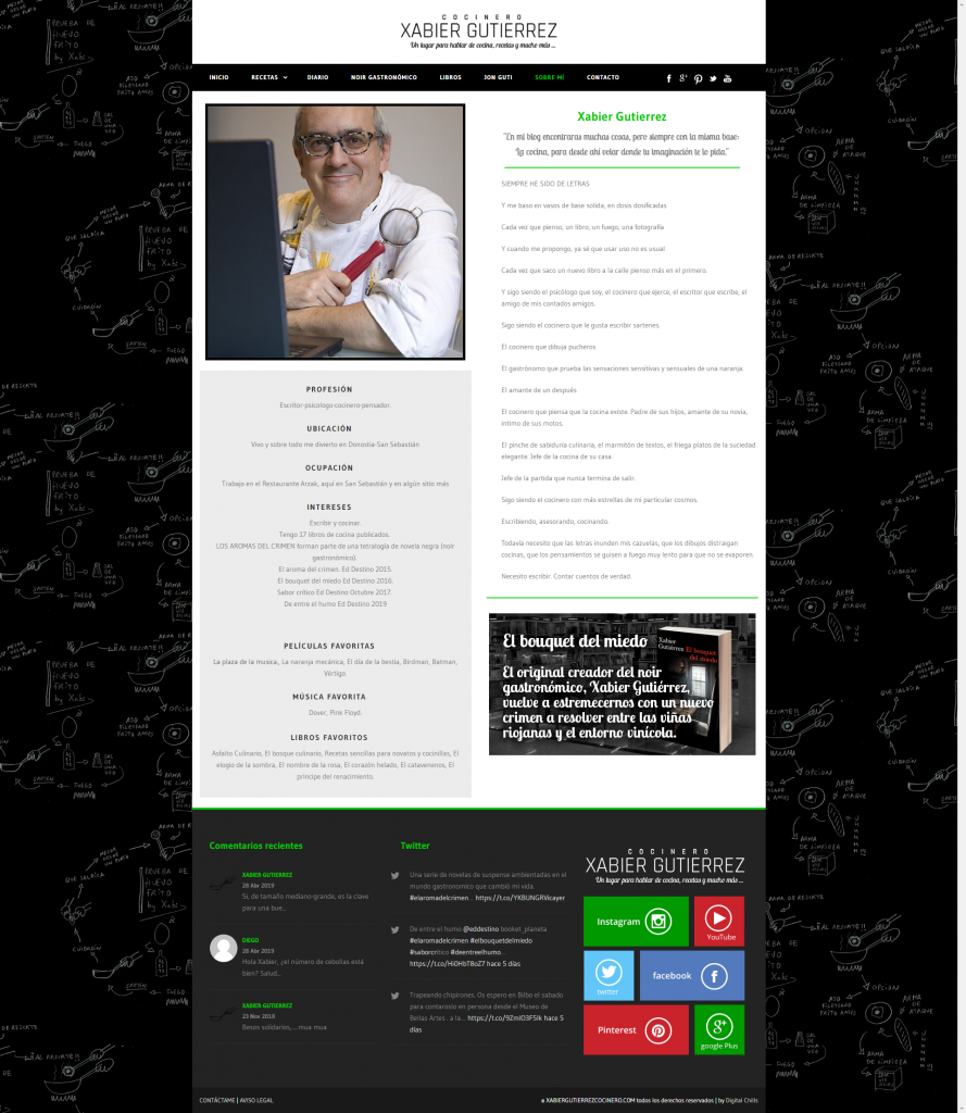 Website Xabier Gutierrez Cocinero | DIGITAL CHILLS Diseño & Marketing Digital