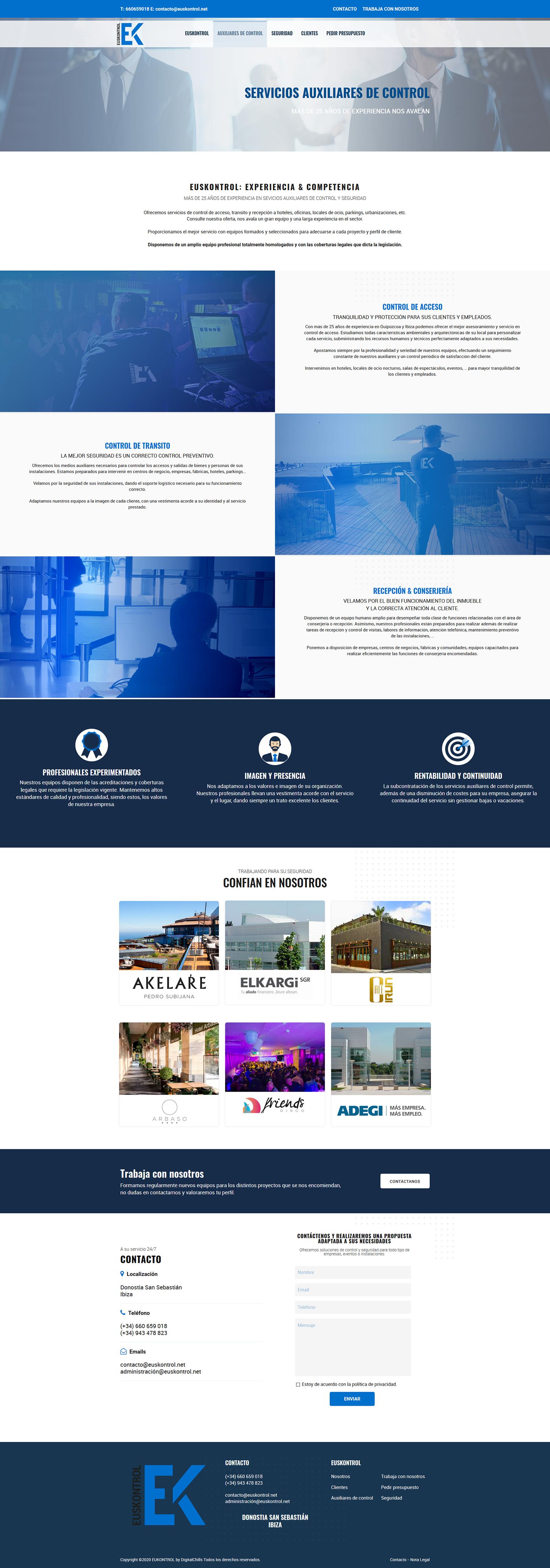 website Euskontrol | DIGITAL CHILLS Diseño & Marketing Digital
